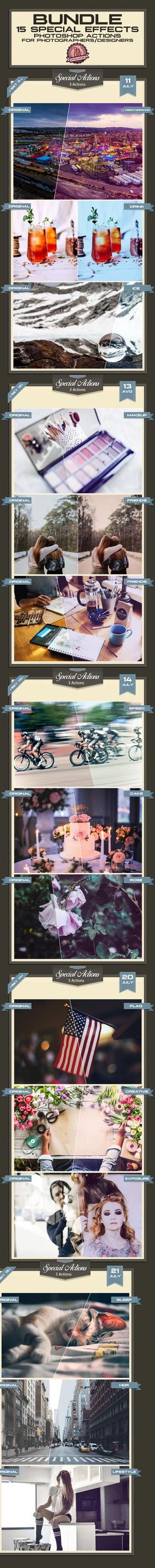 15 Special Photoshop Actions Bundle - Premium! by baturaN
