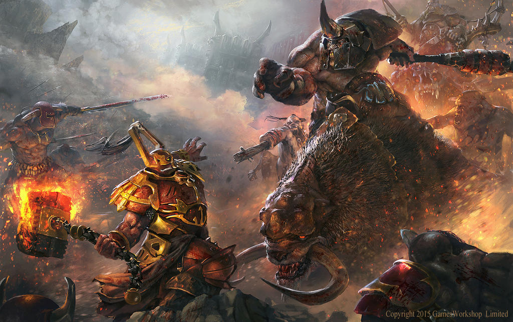 Skullgrinder vs Mournfang by Grosnez