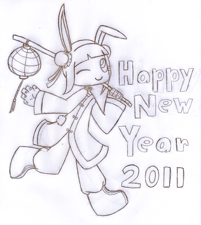 Line Art Year : Happy new year line art by salemthecat on deviantart