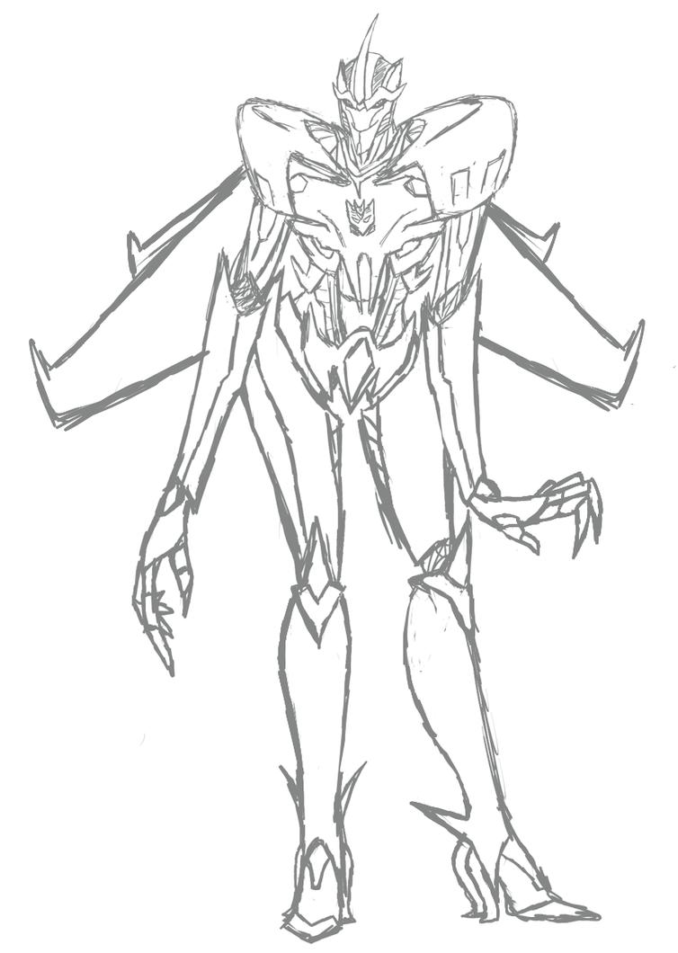 Prime starscream sketch by sad senpai on deviantart for Starscream coloring page