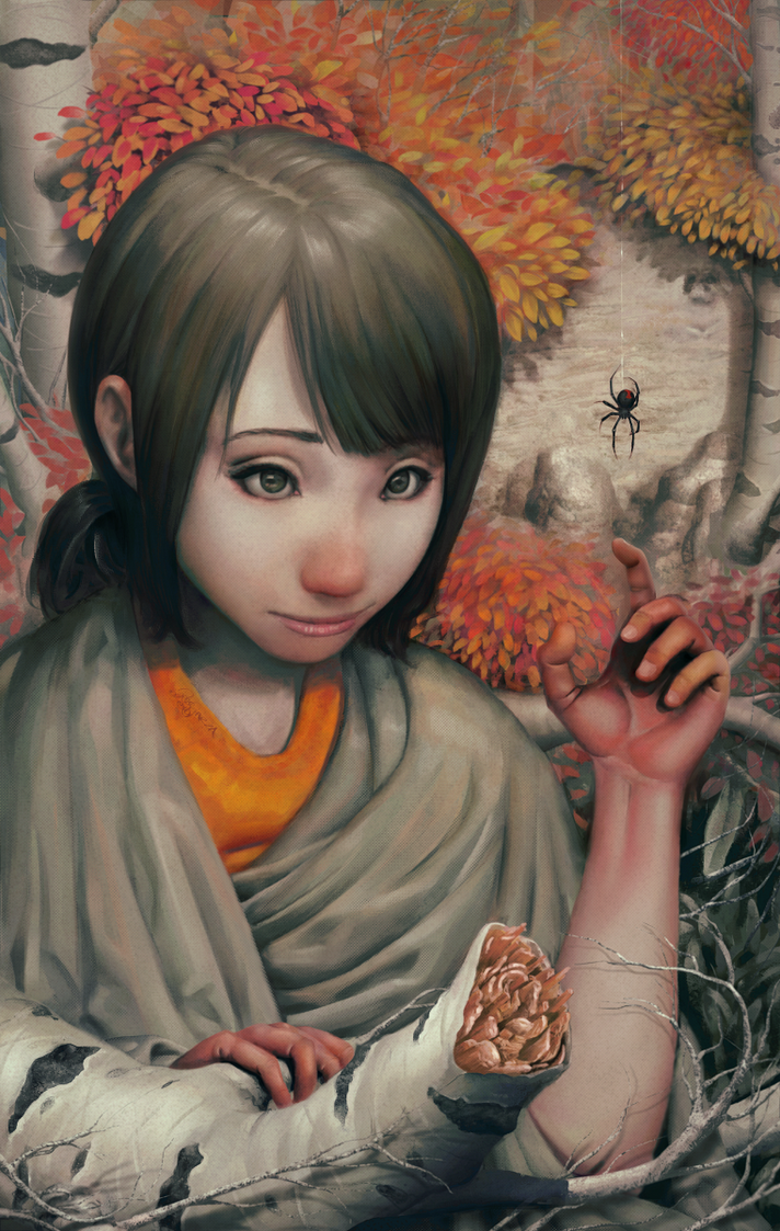 A Girl and a Spider by ChristmasSocks