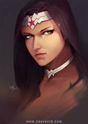 Wonder Woman portrait by SourAcid