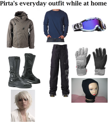 Pirta's everyday outfit while at home