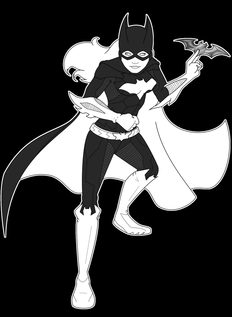 Batgirl Lineart (Version Two) by CristalMyRabbit