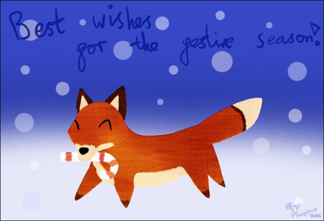 Christmas Textured Fox by blue-phoenix