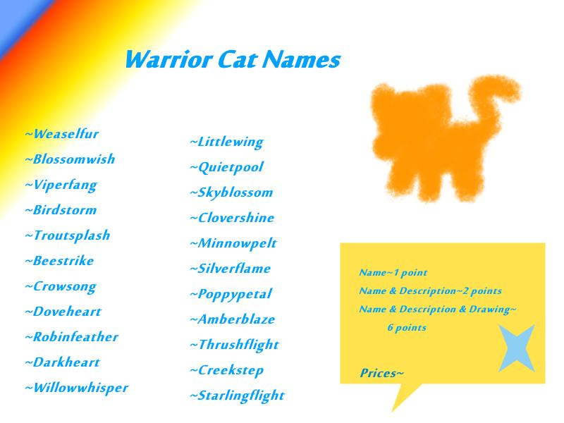 Warrior Cat Names OPEN ('adoptables') by Kitty-Luvs-Art on