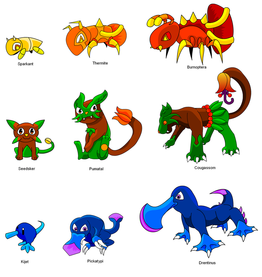 Fakemon - Starters by KnightOfTheTempest on deviantART