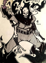 Ghost rider wearing Strider outfit.