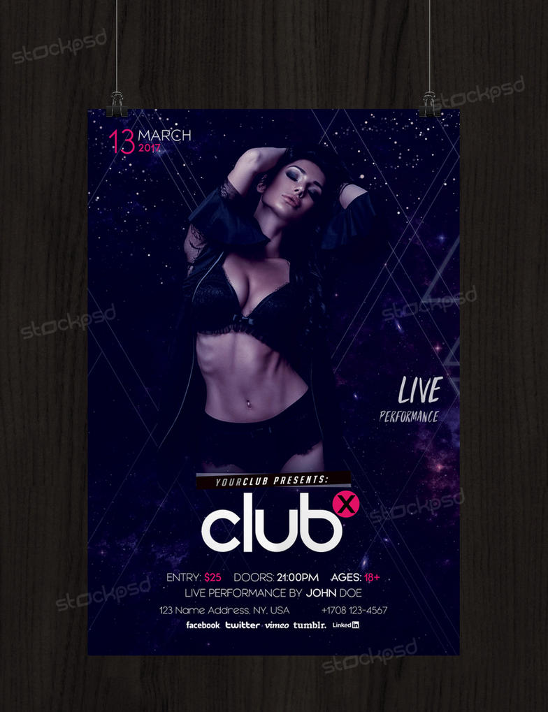 club x free flyer template psd by stockpsd