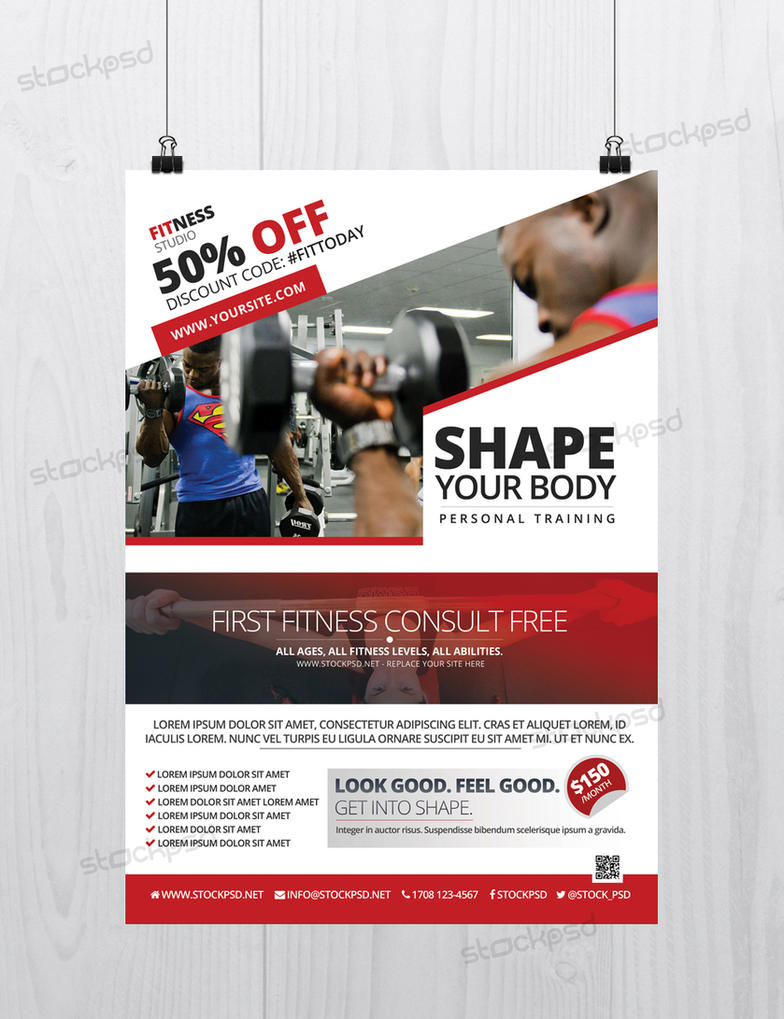 Fitness And Gym Free Flyer Template Photoshop Psd By Stockpsd On
