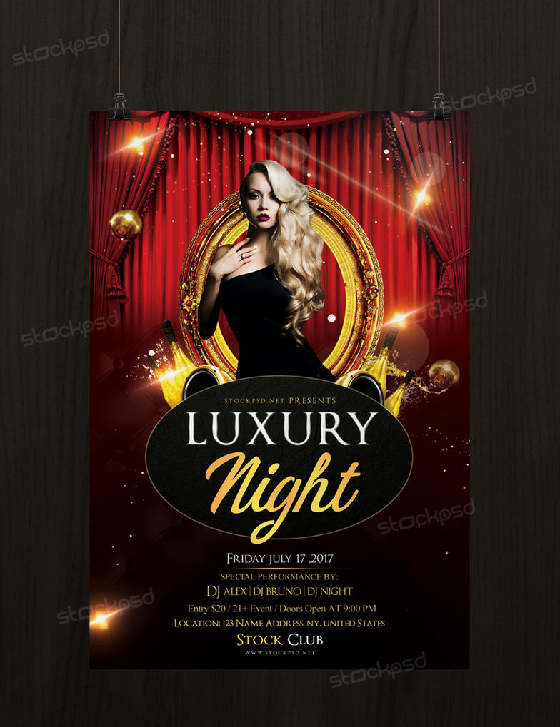 luxury gold night free psd flyer template by stockpsd