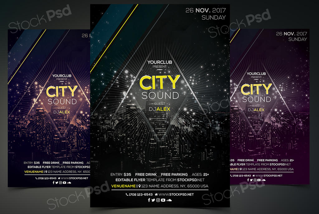 City Sound Psd Free Flyer Template By Stockpsd On Deviantart