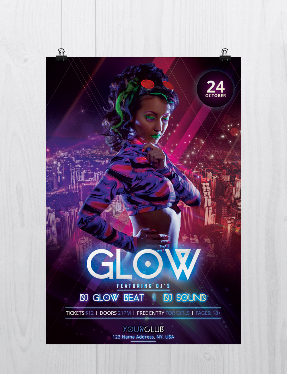 Glow And Neon Free Party Psd Flyer Template By Stockpsd On Deviantart