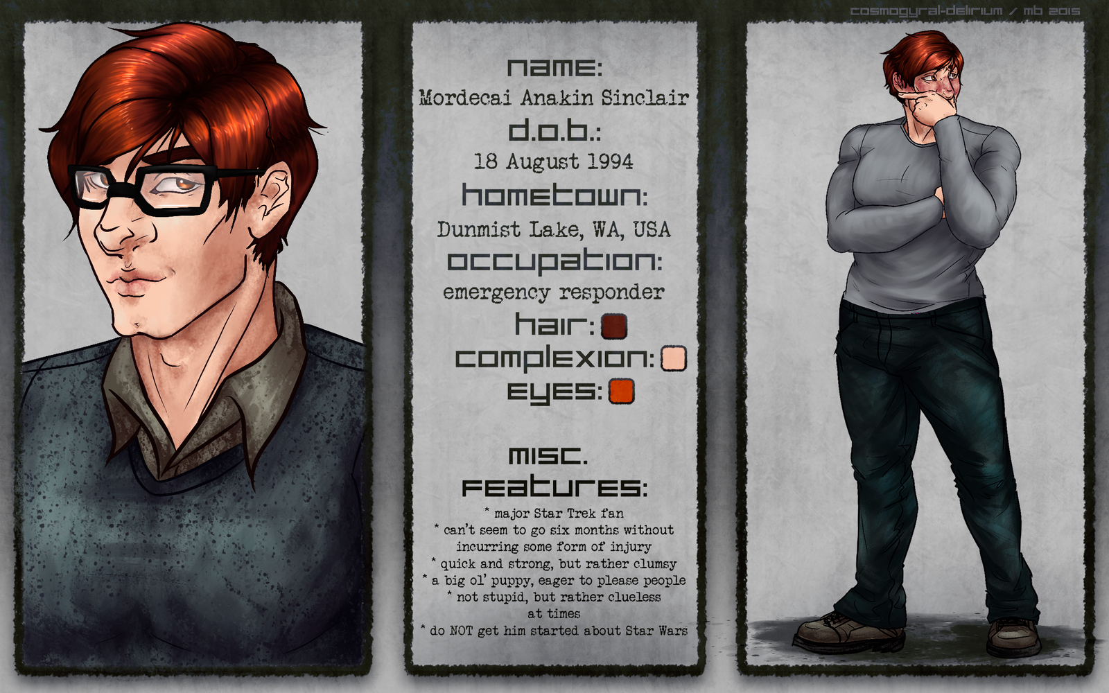Character Sheet: Mordecai by cosmogyral-delirium