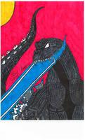 My Godzilla GMK drawing. Scanner quality. by Shin-Ben