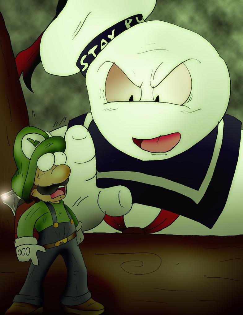 Luigi Battles Stay Puft by Rokku-D
