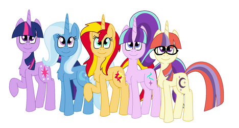 Twilight, Trixie, Sunset, Starlight and Moondancer by alexeigribanov