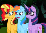 Sunset Shimmer, Rainbow Dash and Sci-Twi