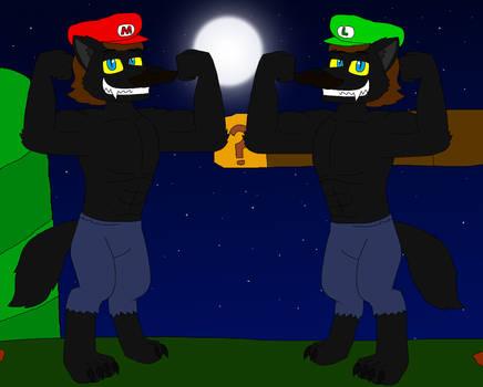 Werewolves Mario and Luigi