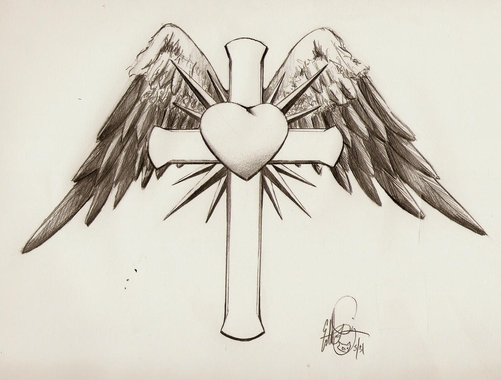 Cross with wings and heart by disdick on DeviantArt