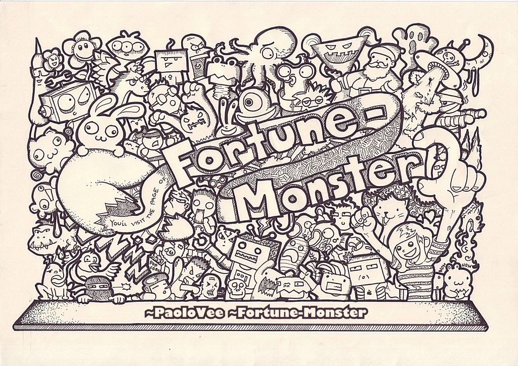 Fortune monster doodle by paolovee on deviantart for Doodle art monster
