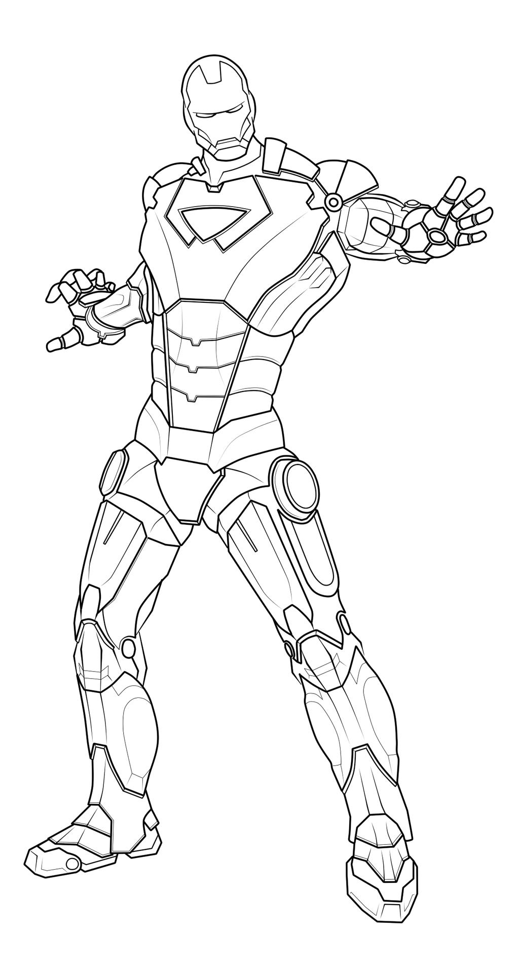 Line Art Man : Ironman line art by paolovee on deviantart