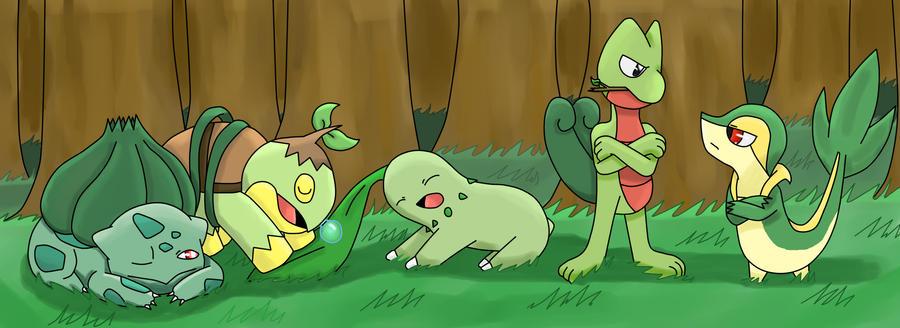 Grass Starter Pokemon Wallpaper Pokemon Grass Starters by