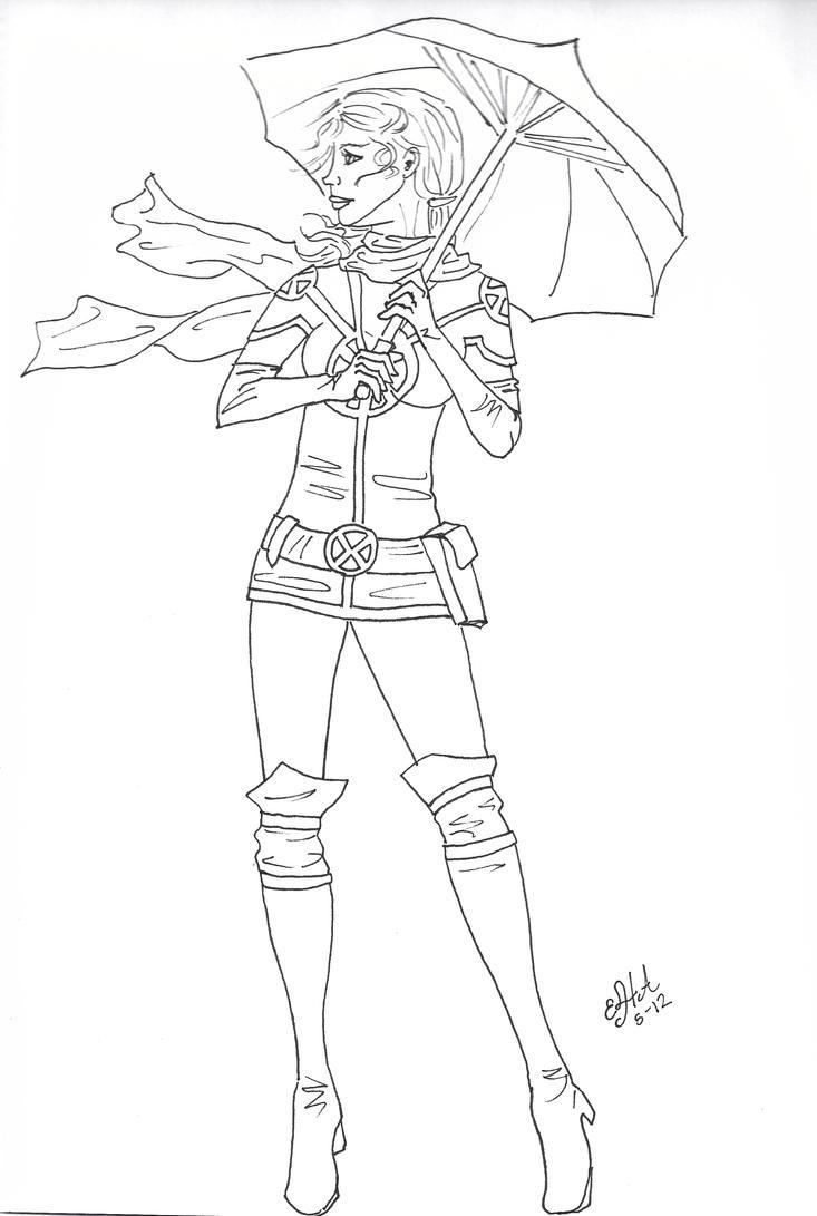 Line Art Umbrella : Rogue with umbrella line art by elenatintil on deviantart
