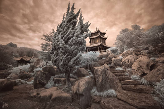 Pagoda at Dusk - Infrared