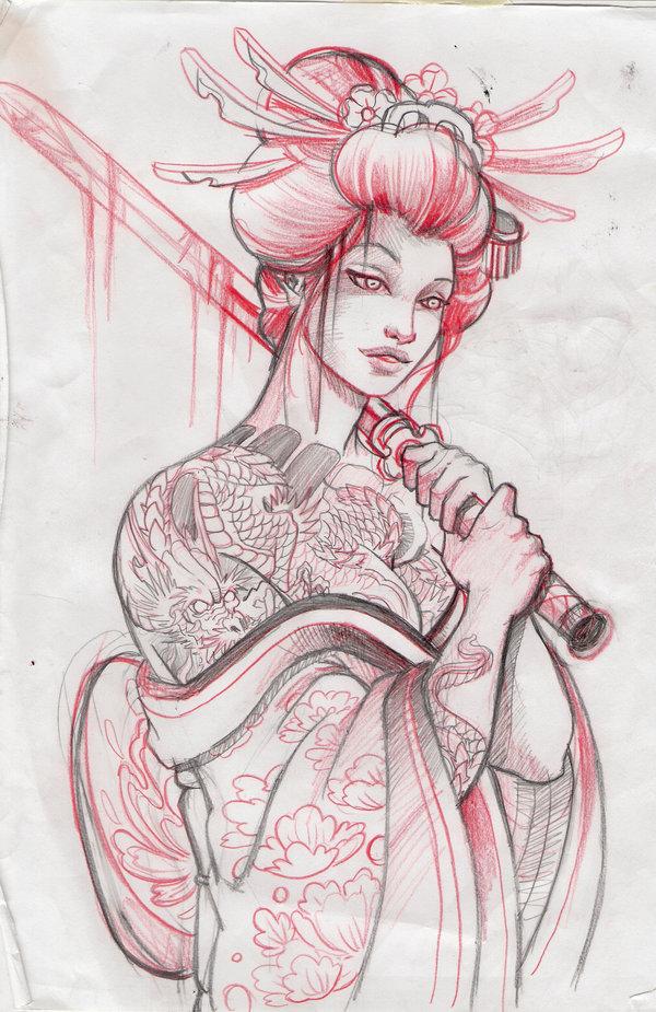 Geisha girl drawings