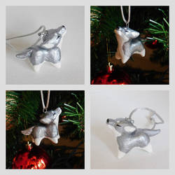Metallic Gray Wolf Ornament