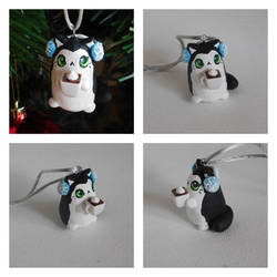 Cat with Earmuffs and Hot Chocolate Ornament