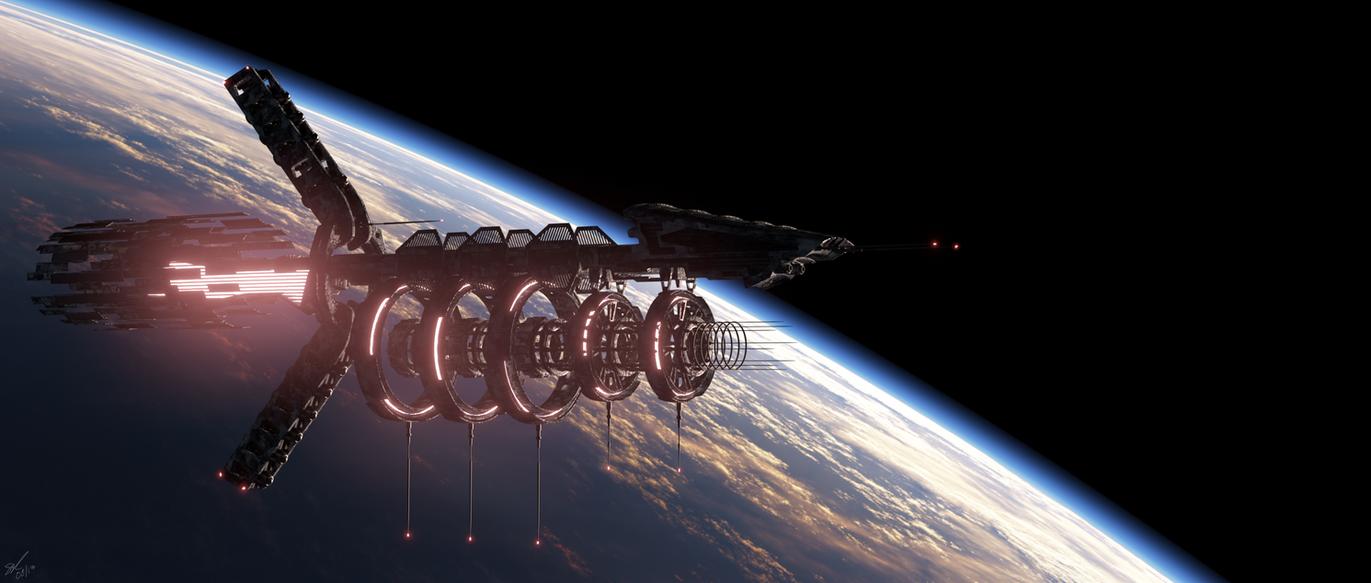 Orbital Rail Gun Platform by SteveReeves