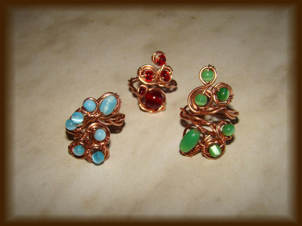 Red,blue and green copper ring by jasmin7