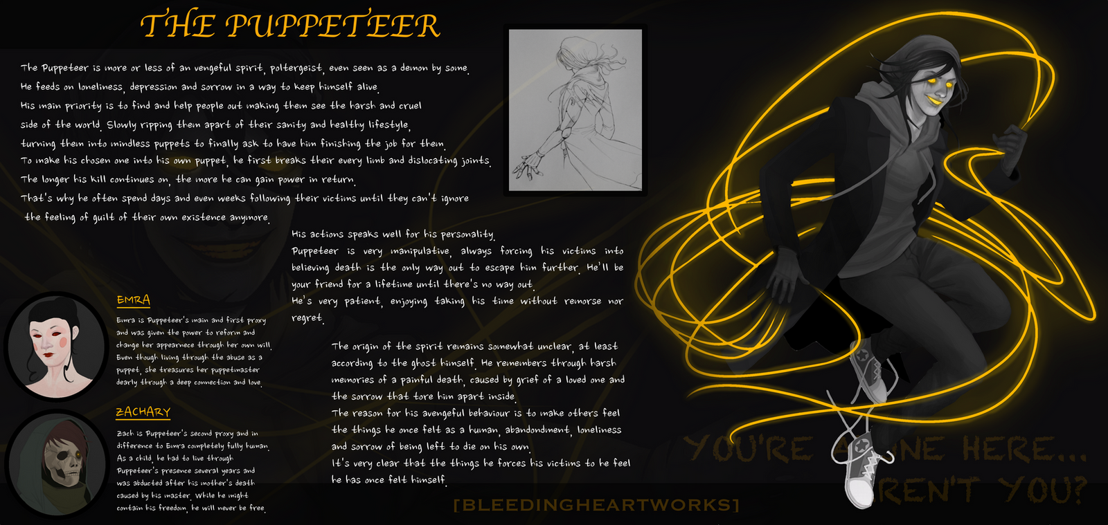 The Puppeteer (Old Character Sheet) by BleedingHeartworks