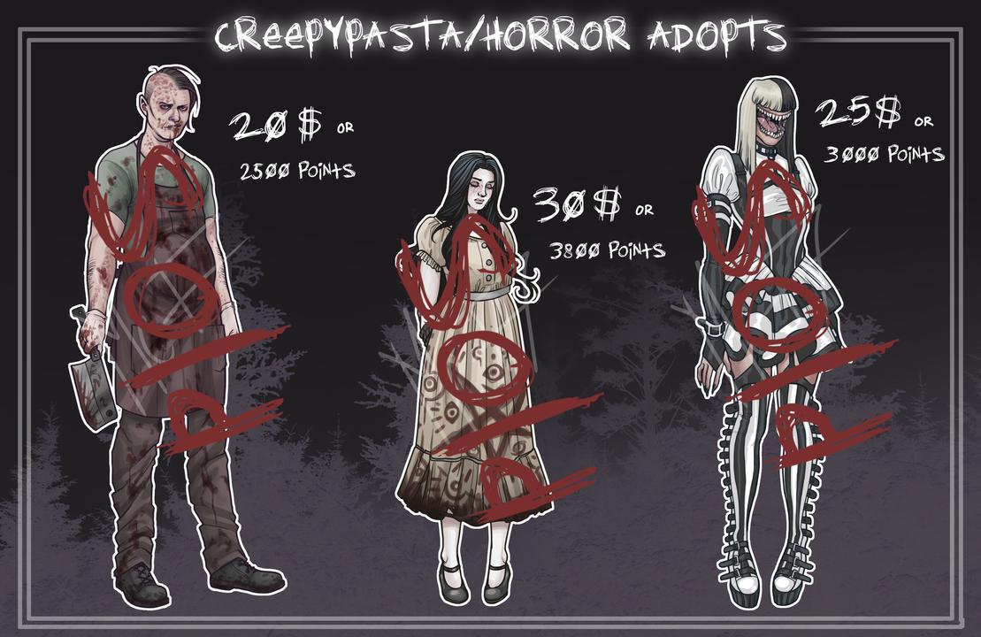 [ADOPT]: Creepypasta/Horror Adoptables (CLOSED) by BleedingHeartworks