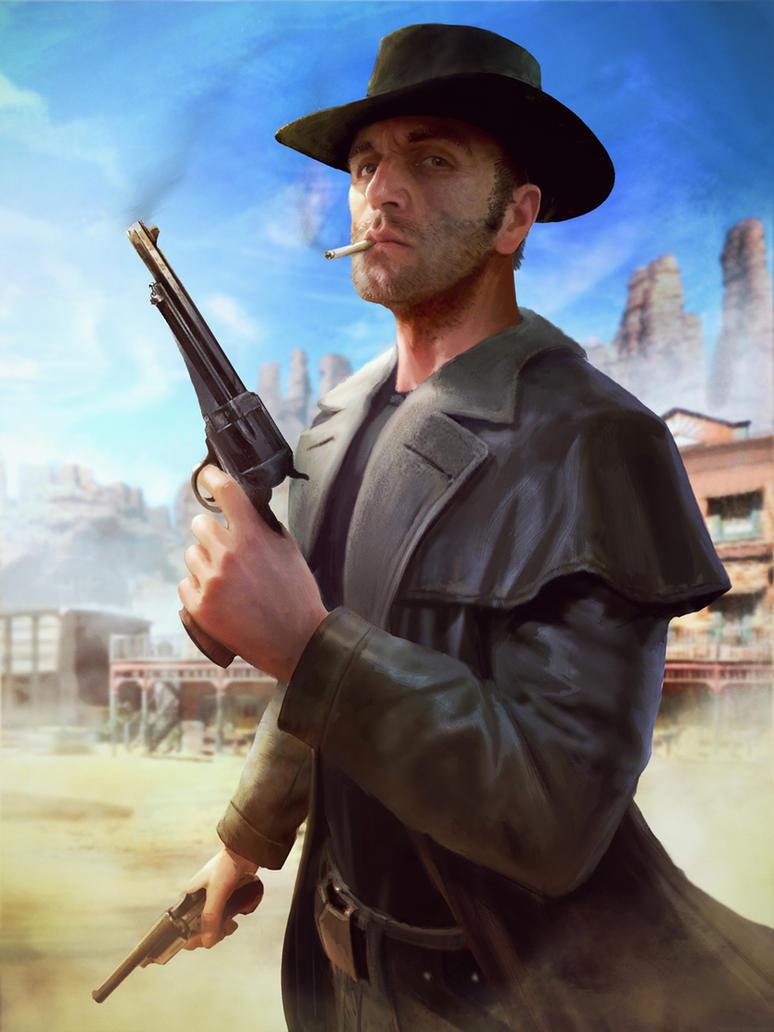 Painting Cowboy On Horse In Desert Artist Jc