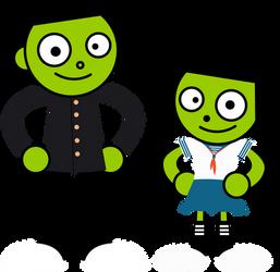 PBS Kids Digital Art - Japanese School Outfits by LuxoVeggieDude9302