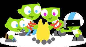 PBS Kids Digital Art - Four Around a Campfire