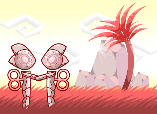 Robots in Red Grass by Volcanic-Penguin