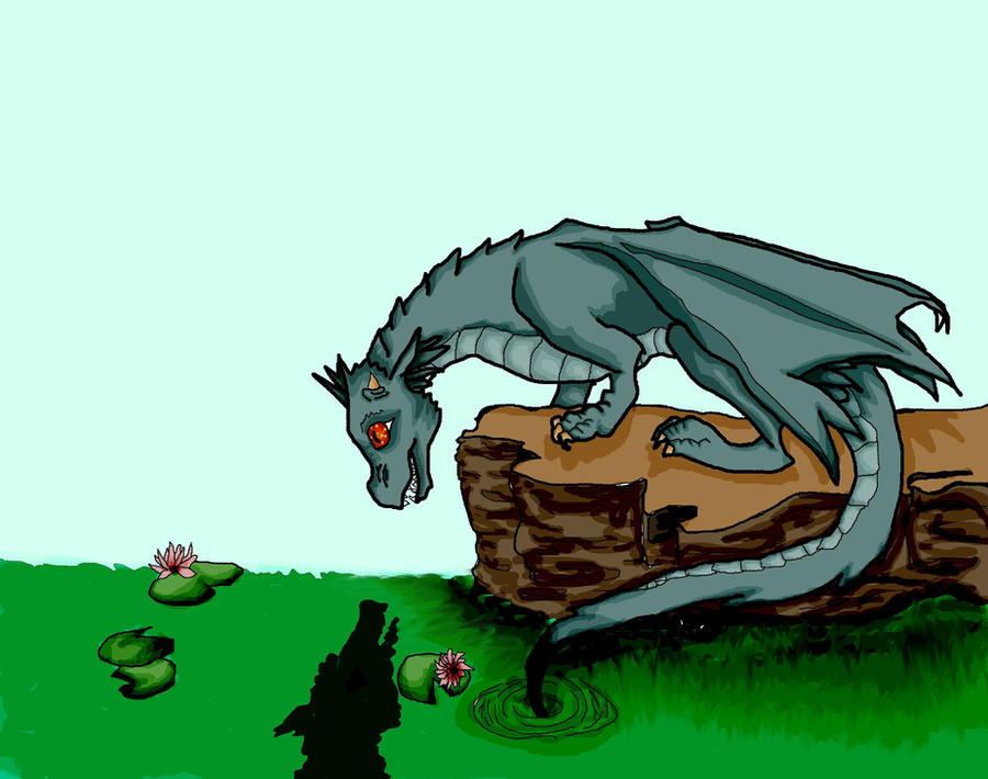 The Baby Dragon's Reflection by Faith-Bailey
