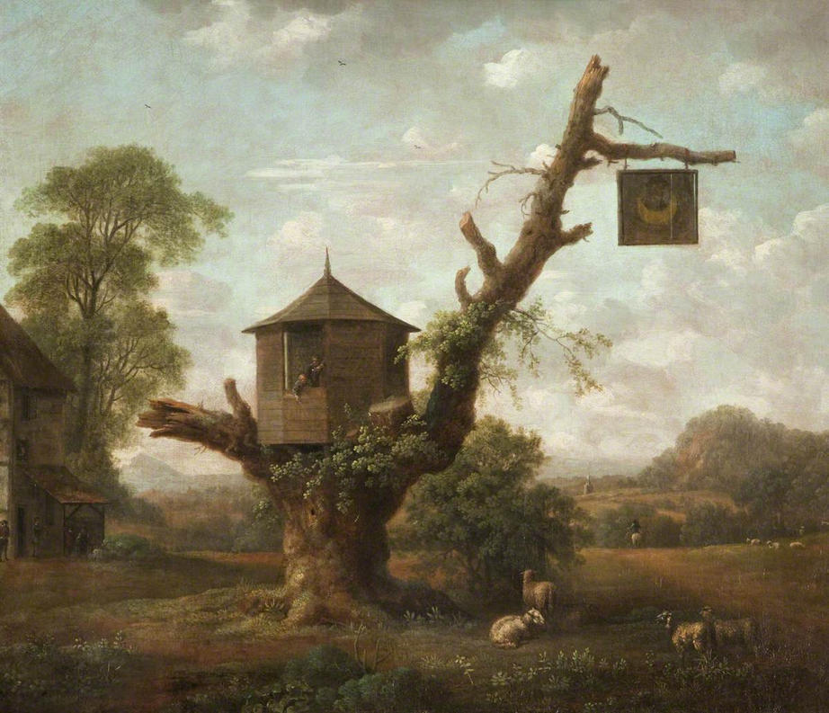 dutch painting of a tavern in a tree