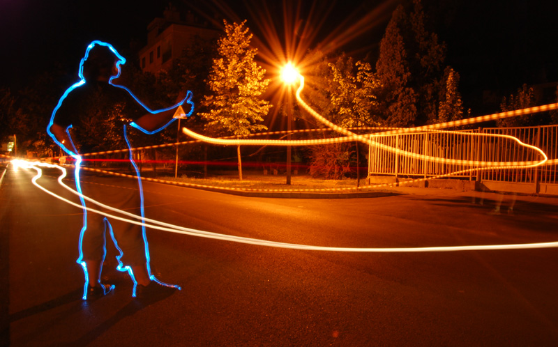 Light Graffiti - hitch-hiker by LightScribblers