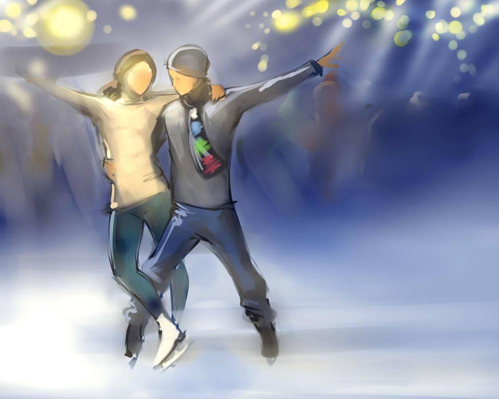 SRU - Kataang Ice-skating Sketch by Destiny-Smasher