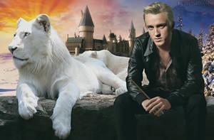 Draco Malfoy and his animagus form by feltsbiannn