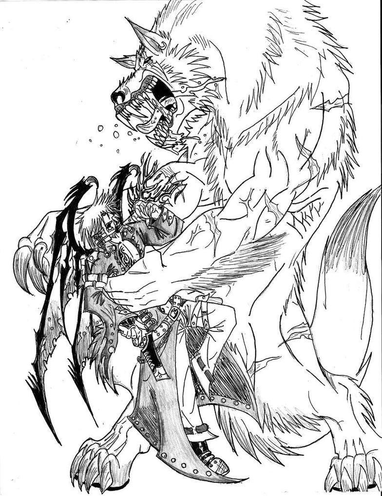 werewolf vs vampire by thewolfmaria on deviantart