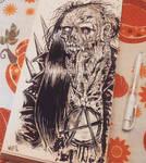 punk zombie inktober