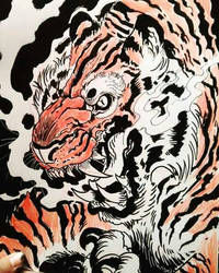 red tiger by TheWolfMaria