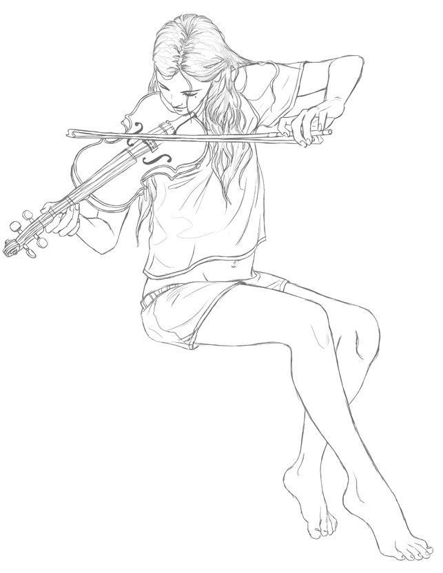 Anime Violin Drawing