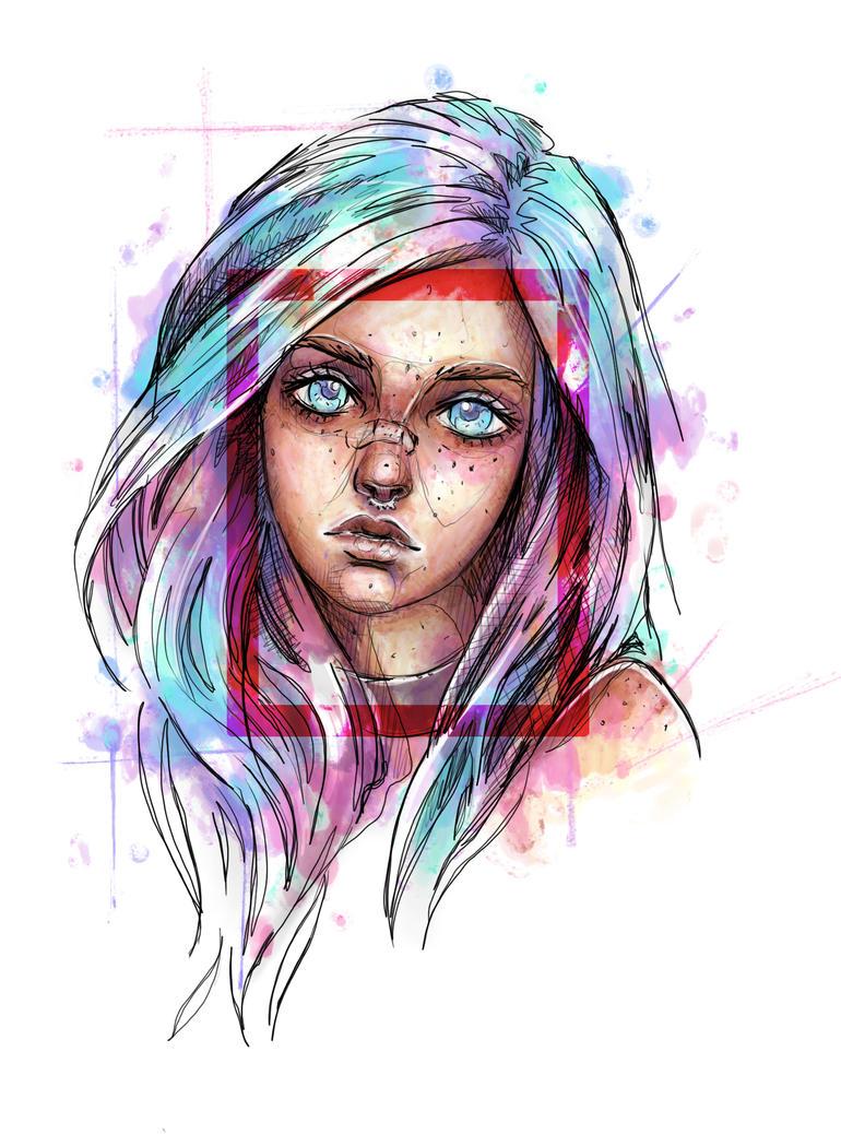 Fake Waterclolour Girl by Jawbone-Ashtray